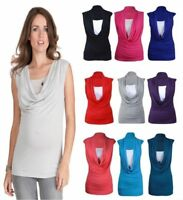 Ladies Womens Gathered Cowl Neck Contrast Insert Long Vest Top Size UK  8-26