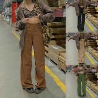 Women High Waist Retro Loose Casual Corduroy Long Pants Causal Wide Leg Trousers