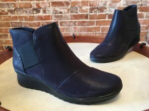 Clarks Cloud Steppers Navy Blue Caddell Tropic Wedge Ankle Boot 6.5 New
