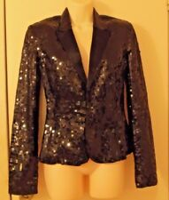 GUESS Authentic NWT Woman's S  Black Sequin Tuxedo Style Lined Blazer Jacket