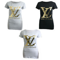 Womens Ladies Short Sleeve Las Vegas Slogan Gold Print T-shirt Top Tee UK 8-14