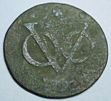1792 New York Penny Dutch East Indies 1 Duit Antique Colonial Copper VOC Coin