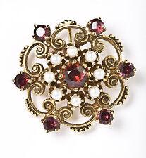Garnet & Sea Pearl 14k Yellow Gold Downton Abbey ish Pin Broach Pendant