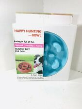 Happy Hunting Feeder Bowl For Dogs Stop Bloat Slow Feeding Small Teal Blue