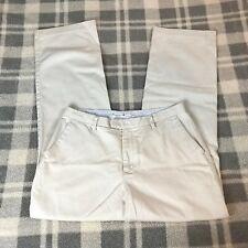 Women's TOMMY HILFIGER Ivory 100% Cotton Straight Leg Pants Size 10 Inseam 30