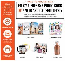 Shutterfly Coupon Code $20 Off $20 or 8X8 PHOTOBOOK! Expires 4/1/2018!