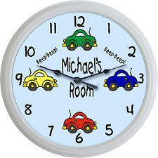 Beetle Car Beep-Beep Custom Personalized Wall Clock Child Baby Nursery Bedroom