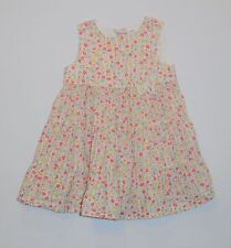 H&M Butterfly Shiny Gold Thread Floral Tiered White Sleeveless Dress, 6-9 mos.
