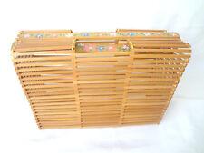 JAPANESE Bamboo Basket Purse Handpainted Floral Trim