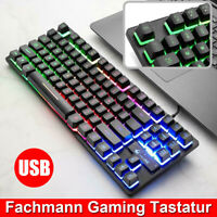 Verdrahtet Gaming Tastatur Keyboard Regenbogen Gamer RGB LED USB für PC Computer