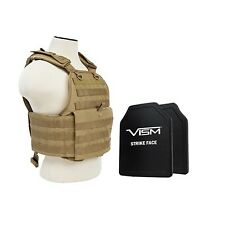 VISM BPCVPCV2924T-A Body Armor Ballistic Plate Carrier 10X12 PE Hard Plates Tan