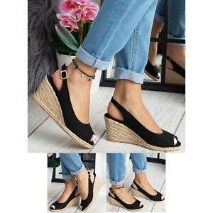 Womens Ladies Espadrilles Sandals Slingback Wedge Heel Buckle Peep Toe Shoe Size