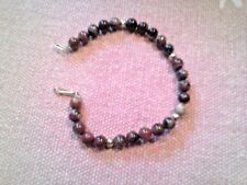 """FASHION JEWELRY BRACELET BROWN RED MARBLEIZED STONES 7""""  GOLD TONE VG COND"""