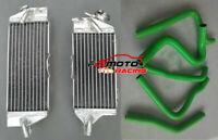 For Kawasaki KX250 KX 250 1990 1991 1992 1993 Aluminum radiator + GREEN hose