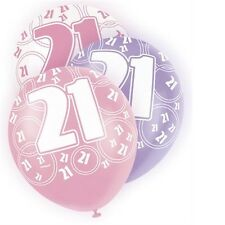 Pink Glitz 21st Birthday Age 21 Pack 6 Latex Party Balloons Suit Air Or Helium