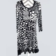 Cable & Gauge Womens Tunic Dress XL Asymmetrical Black White Stretch kfp1