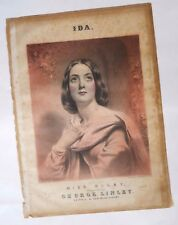 IDA –SUNG BY MISS DOLBY – 1851 EDWARD GRIMSTONE LITHOGRAPH - SHEET MUSIC COVER