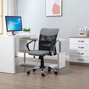 Vinsetto Office Chair Linen Mesh Fabric Swivel Home Desk Chair w/ Wheel, Grey