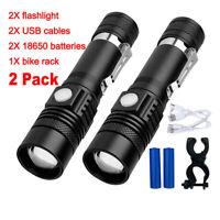 2X CREE XM-L T6 6000LM lampe de poche torche 18650 USB rechargeable lampe LED FR
