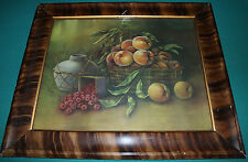 "Antique 1908 White City Art Co. print of fruit ""Peaches and Raspberries"" framed"