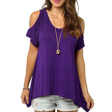 New Women Short Sleeve Off Shoulder T-Shirt Blouse Casual Loose Ladies Top Shirt