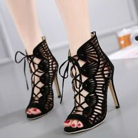Sexy Women Platform Peep Toe Stiletto High Heel Pump Sandals Strappy Party Shoes