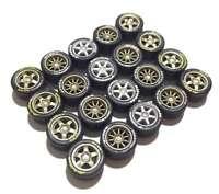 1:64 rubber tires T5 CE28 TE37 rims fit Hot Wheels custom diecast - 5 sets