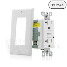 20A GFCI Receptacle Outlets w/ Wallplate UL Listed - 20 Amp White [20 pc]