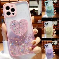 For iPhone 12 Pro Max 11 XS XR 8 7 Bling Glitter Heart Kickstand Cute Case Cover