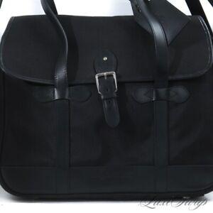 LARGE LNWOT SOLID Polo Ralph Lauren Black Ballistic Leather Trim Duffle Bag NR