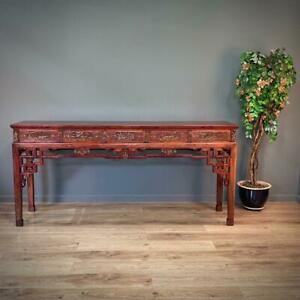 Attractive Very Large Tall Oriental Carved Cherrywood Console Hall Table