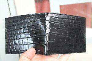 Black Genuine Crocodile Alligator Skin Leather - Men's Bifold Wallets