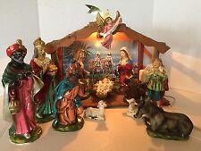 LARGE Vintage Nativity Set Manger Japan Hand Painted Composite Paper Mache EUC