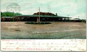 "1907 FAR ROCKAWAY, Long Island New York Postcard ""Railroad Station"" Depot Scene"