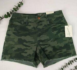 Universal Thread Denim Camo Shorts Frayed Cuff NEW Camouflage High Rise Midi 2 4