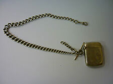 VINTAGE SILVER WATCH CHAIN DOUBLE ALBERT EVERY LINK MARKED SILVER + SILVER VESTA