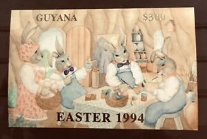 GUYANA EASTER 1994.  GOLD FOIL POST CARD QUALITY IMPERF MINIATURE SHEET. RABBITS