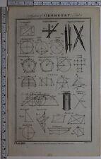 1788 impresión Original geometría elíptica brújulas varios diagrama cicloide