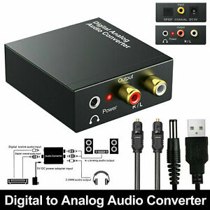 Optical Coaxial Toslink Digital to Analog Audio Converter Adapter RCA 3.5mm L/R
