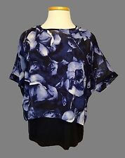 CHICOS L 2 navy blue black white floral print 2 in1 knit tank top poncho overlay