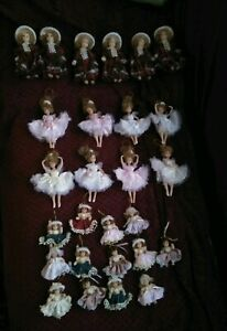 27 Victorian Porcelain dolls & ballerina & dolls in Christmas dresses Ornaments