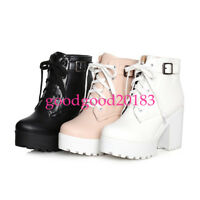 womens Lace Up Chunky High Heel Black Platform Punk Ankle Boots Shoes