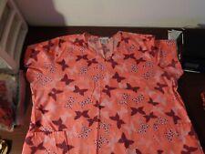 Nurse Scrub Sb Scrubs Butterflies Plus Size 3X V Neck 2 Pockets Medical Hospital