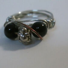 Wrapped Ring Sz 5 Distressed Look Handmade Silver Tone & Black Beaded Wire