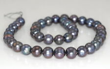 9-10MM GREY NATURAL PEARL GEMSTONE GRADE AAA ROUND LOOSE BEADS 7""