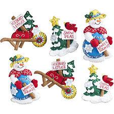 Felt Embroidery Kit ~ Plaid-Bucilla Set of 6 Snow Garden XMAS Ornaments #86558