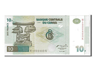 [#107827] Congo Democratic Republic, 10 Francs, 1997, KM #87B, UNC(65-70)