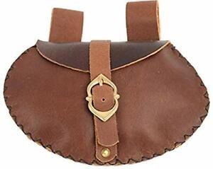 Mythrojan Medieval Viking Leather Belt Pouch LARP Renaissance Waist Bag – Brown