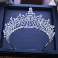 Baroque Full Rhinestone Crystal Tiara Crown Luxury Wedding Korean Hair Ornaments