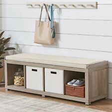 Entryway Storage Bench Wood Cushion Sitting Furniture Upholstered - Rustic Gray